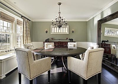 Dining room with olive walls