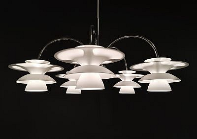 Beautiful white chandelier on dark background