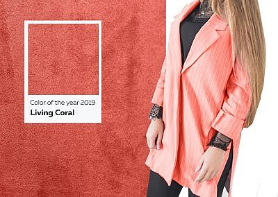 woman in fashionable clothes, Color of the year 2019 Living Coral.