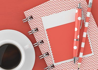 3d render of stationery with  textile color swatch