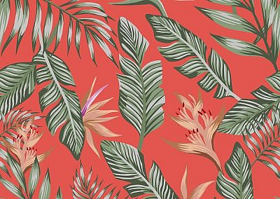 Green palm leaves brown tropical flowers seamless trendy coral b
