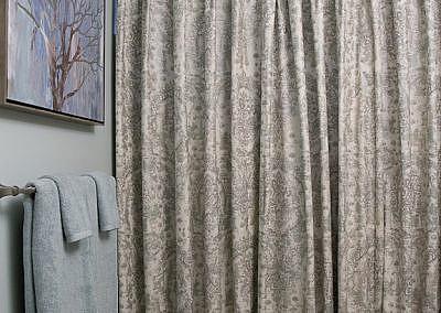 Custom Shower Curtain in Guest Bathroom